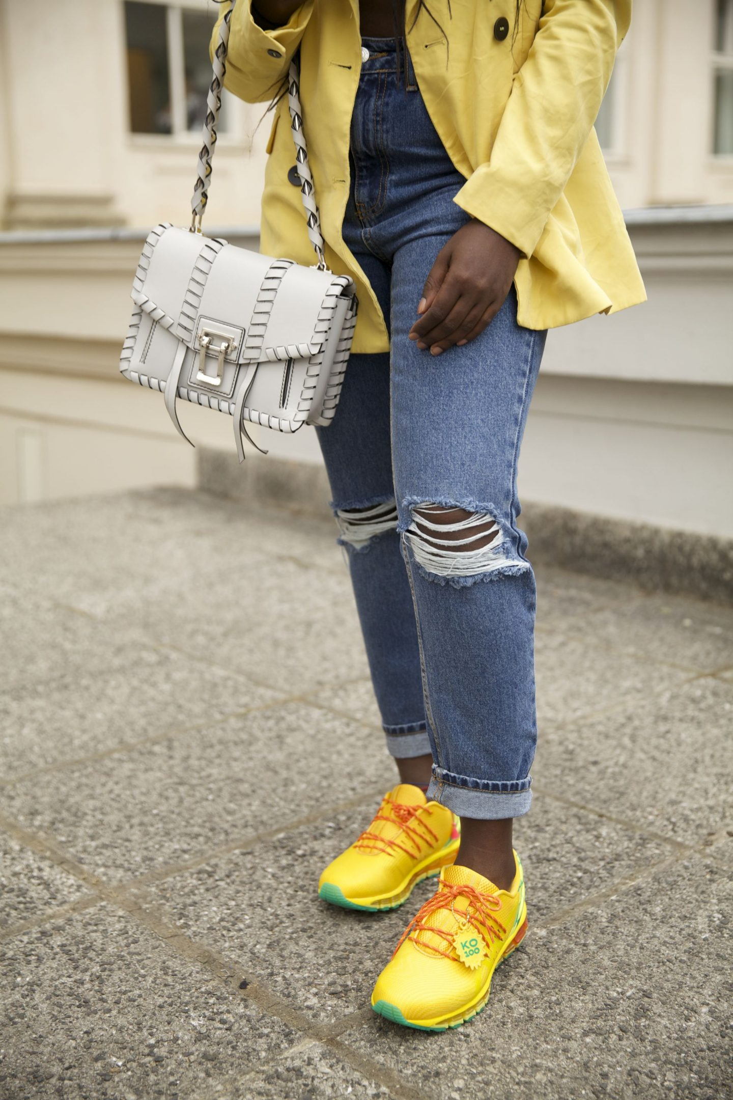 Asics gel ko100 sunflower edition sneakers lois opoku proenza schouler hava whipstitch bag street style lisforlois_2