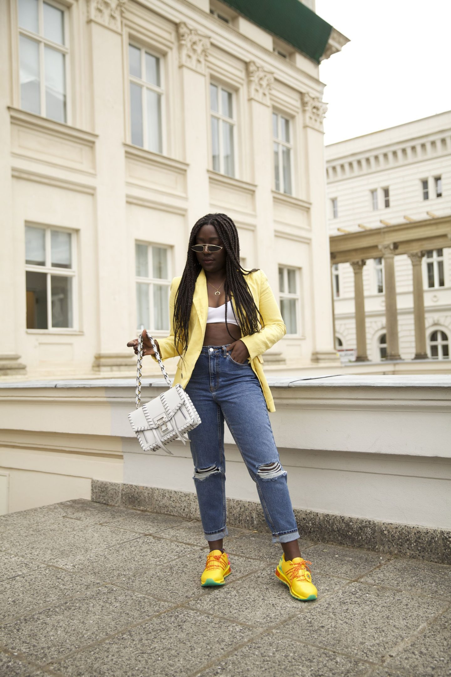 Asics gel ko100 sunflower edition lois opoku proenza schouler hava whipstitch bag street style lisforlois_8
