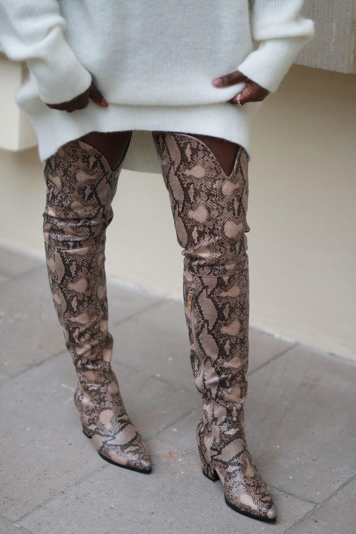 snake print overknee boots
