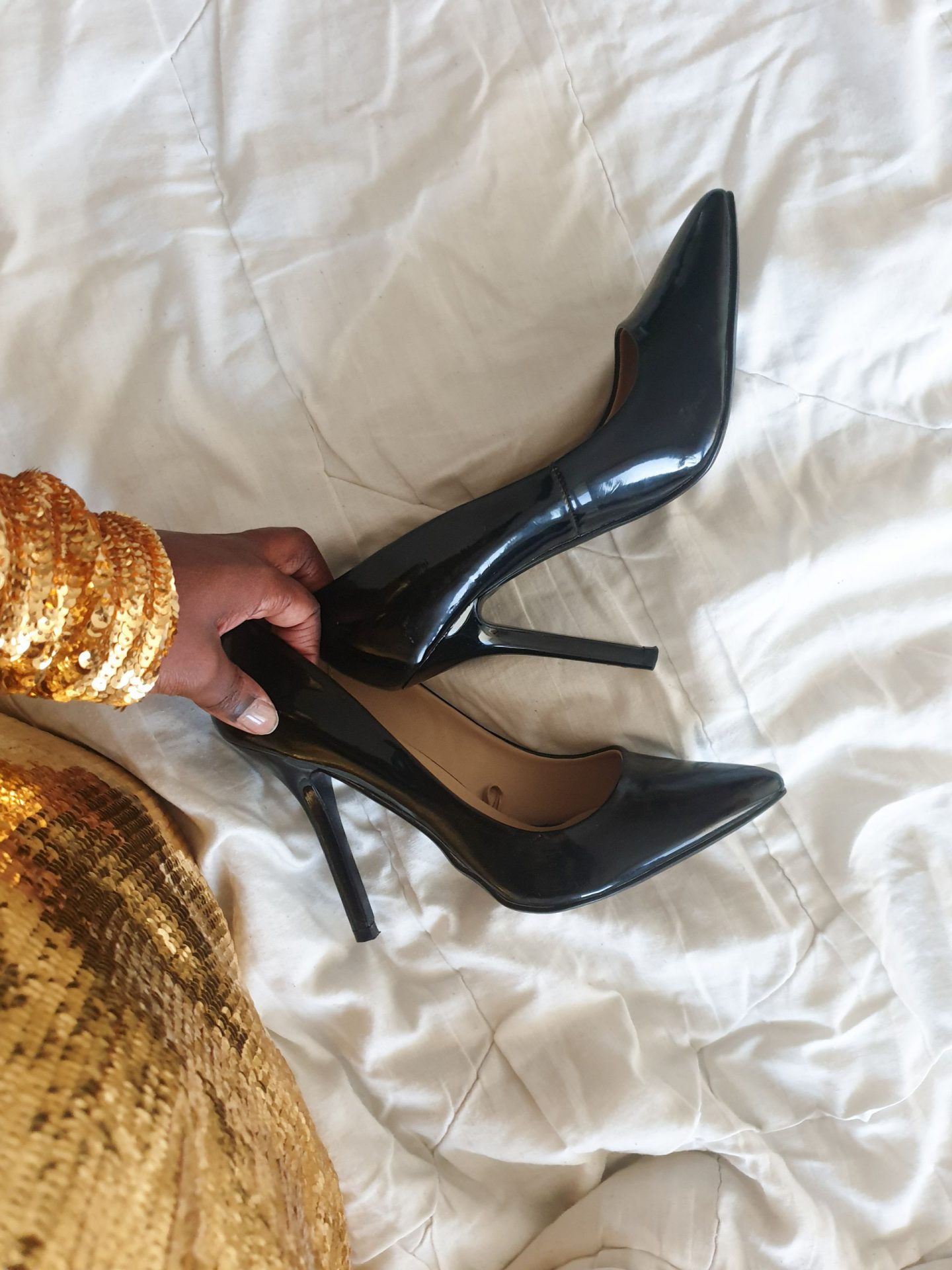 black high heels for new years party