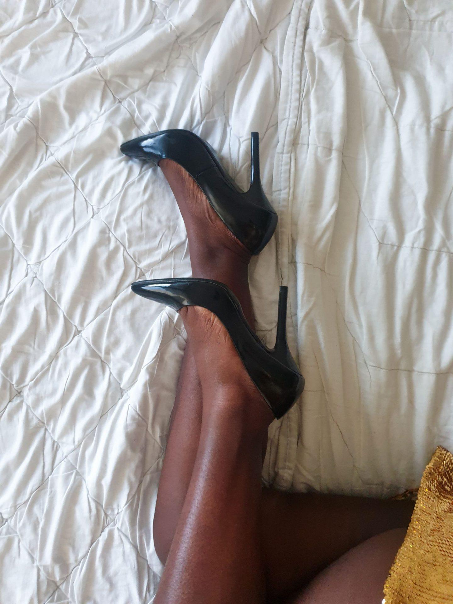 black high heels gold dress
