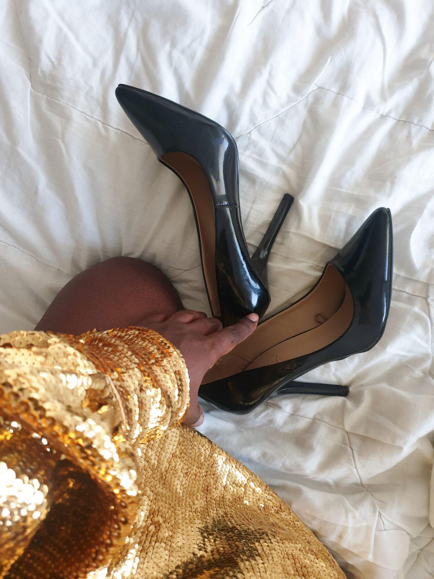 sequin dress and black high heels