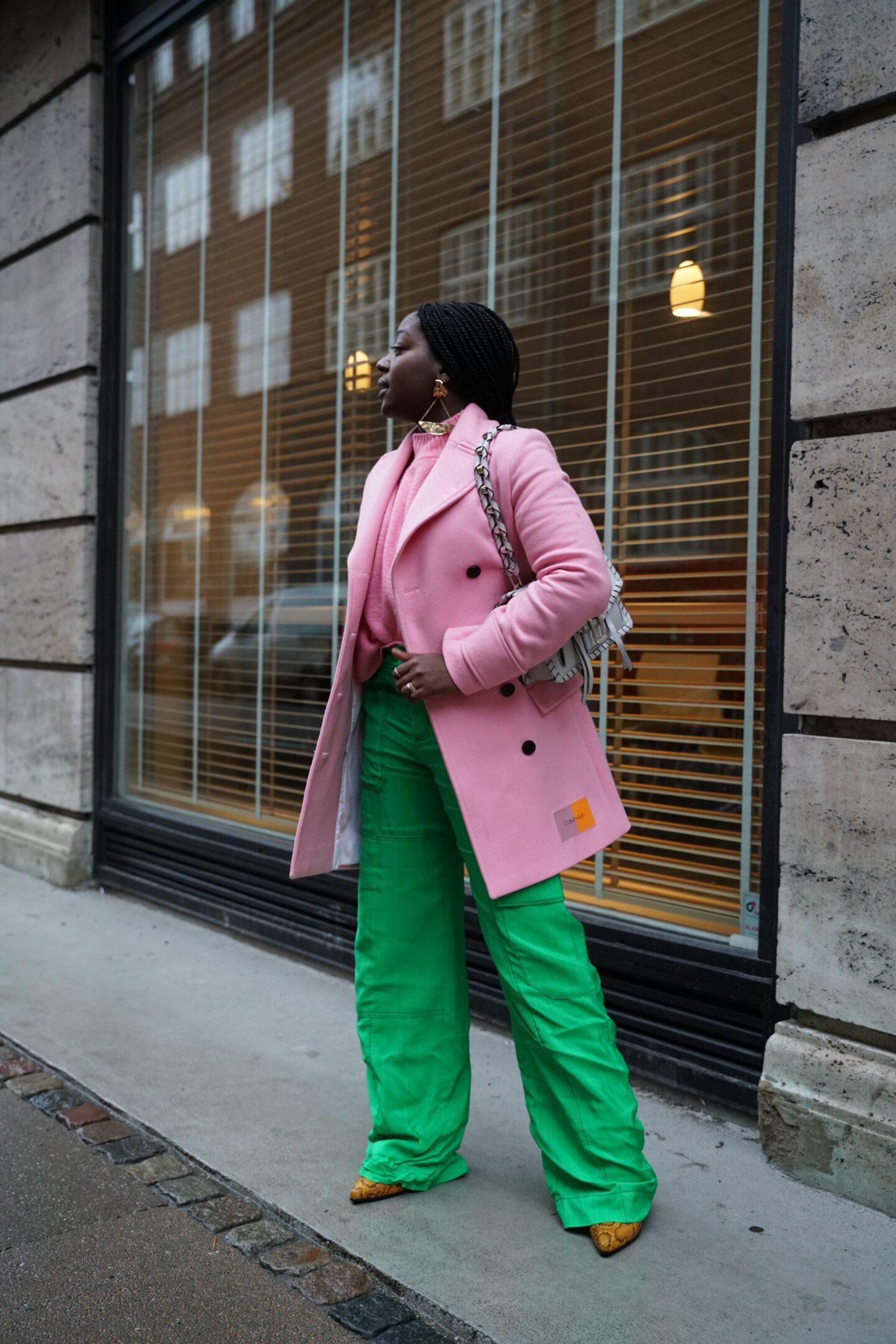 Copenhagen fashion week streetstyle Lois Opoku pink green outfit